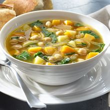 This is a warm and comforting vegetarian soup made with freshly chopped vegetables, like onions, potatoes, winter squash and fresh spinach and GOYA® Low Sodium Chickpeas.