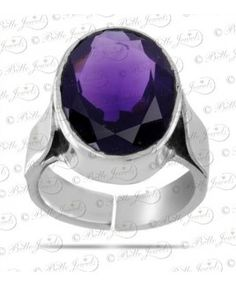 Natural Amethyst Birthstone Adjustable Silver Ring
