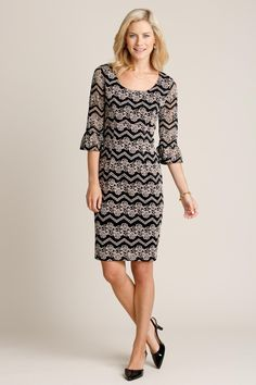 Stretch Lace Print Dress: Classic Women's Clothing from #ChadwicksofBoston $54.99