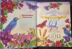 Inside cover of the inspire bible done with polys and prismas and a pastel background.
