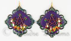 Samhain Gathering Pentacle Wreath Earrings by DeidreDreams.deviantart.com on @DeviantArt