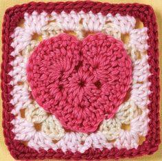 Heart motif granny square