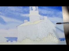 ▶ How to paint a Lighthouse in Watercolor: Step 4 - Adding Shadows to the Buildings - YouTube