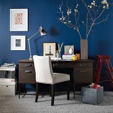 Blue office eclectic home office.Love the wall color Blue Office Decor, Office Wall Colors, Office Color Schemes, Colour Schemes, Color Trends, Design Trends, Design Ideas, Wood Office Desk, Office Walls