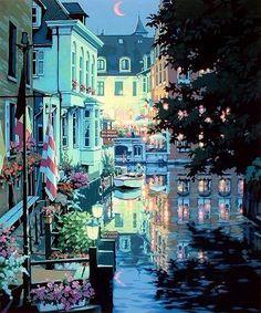 ブルージュの舟着場 ~Le Quai de Bruges~ - teppei's world Bruges, Landscape Art, Landscape Design, Raoul Dufy, Fantasy Places, Z Arts, Environment Concept Art, Japanese Artists, Beautiful Paintings