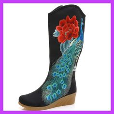 New 2017 Autumn Cloth Fashion Chinese Shoes Women Boots Women Mid Calf Boots Phoenix Embroidery Single Boots Shoes Botas Mujer