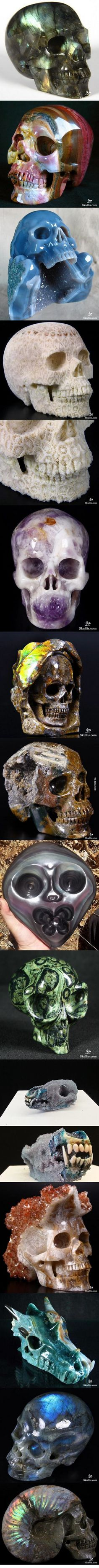 Skulls carved from minerals and coral.