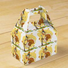 Thanksgiving Pilgrim Turkey Cartoon Party Favor Boxes