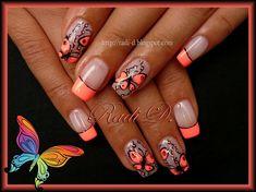 Neon French & Butterflies by RadiD - Nail Art Gallery nailartgallery.nailsmag.com by Nails Magazine www.nailsmag.com #nailart