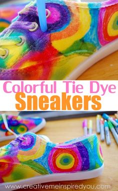 http://creativemeinspiredyou.com/launch-day-just-for-kicks-fun-tie-dye-sneakers/ So much color in these fun shoes! Love!