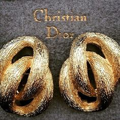 Love these vintage Christian Dior gold plated clip on earrings in mint condition. Marked Chr.Dior©Germany. Coming up soon in the shop!