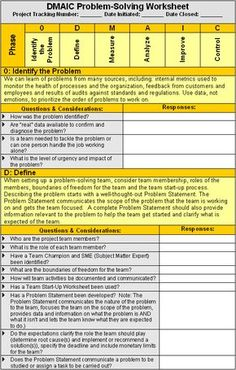 DMAIC Problem-Solving Worksheet