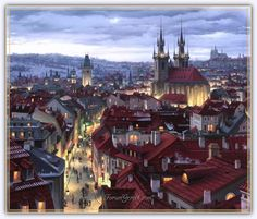 Evgeny Lushpin'in Masal Gibi 26 Resmi - Pinledik Fantasy Places, Fantasy World, Anime Scenery, Gothic Architecture, Architecture Student, Fantasy Landscape, Prague, Kitsch, Night Life