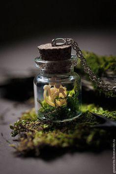 """Подвеска """"Баночка с грибочками"""" - зелёный,баночка,стеклянная баночка,мох"""