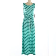 "Tommy Hilfiger Turquoise/Navy Stripe Maxi Dress Bust: 32"", Waist: 28"", Length: 55"". NWT. Tommy Hilfiger Dresses Maxi"