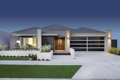 The impressive entry gallery makes a stunning first impression. The long entry gallery in The San Vito can't fail to impress, and immediately makes a state New Home Designs, Home Design Plans, Modern House Plans, Modern House Design, Villa, House Blueprints, New Home Builders, Display Homes, Facade House