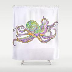 Octopus Shower Curtain by nikaspenc Octopus Bathroom, Octopus Shower Curtains, Purple, Green, Modern, Prints, Trendy Tree, Viola