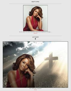 Memorial photo created by changing photo background. We can also remove backgrounds, merge photos.  http://www.freephotoediting.com/samples/change-background/101_rip-memorial-photo-for-whitney-houston-funeral.htm