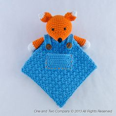 MAY PURCHASE PATTERN ~  Fox Lovey / Security Blanket PDF Crochet by oneandtwocompany