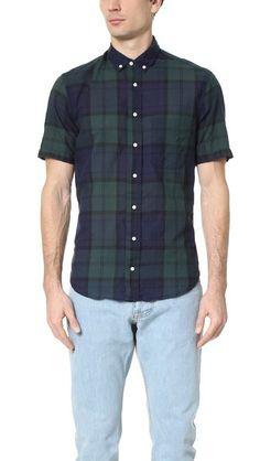 Gitman Vintage Blackwatch Japanese Voile Short Sleeve Shirt $142
