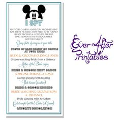 Mickey Mouse I Spy Card - Disney Wedding