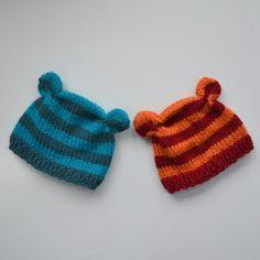 NEW Newborn Boy Girl Baby Hat PHoTO PRoP Stripe ANiMAL Beanie KNiT to ORDeR Pick Colors Bear Piglet Monkey Fox Cat EAR CAP Take Home Gift. $24.00, via Etsy. #babyhat @BabyList Baby Registry
