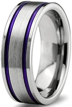 Chroma Color Collection Tungsten Carbide Wedding Band Ring 10mm for Men Women Green Red Blue Purple Black Copper Fuchsia Teal Interior with Flat Cut Brushed Polished