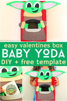 Easy Baby Yoda Valentine Box DIY {FREE Template) | craft your own 3D Grogu Valentines Box complete with soup bowl inspired by the Star Wars The Mandalorian Show with this FREE printable template Happy Valentine Day HAPPY VALENTINE DAY | IN.PINTEREST.COM WALLPAPER EDUCRATSWEB