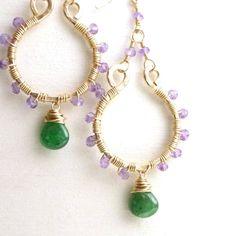 Bohemian Hoop Earrings Gold Filled Wire Wrapped Jewelry Handmade Amethyst Tsavorite. $55.00, via Etsy.