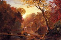 Fredrick Edwin Church. Referencing his landscape paintings- influenced my paintings in college.