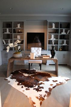 Get organized and step into a new year with a beautiful interior office. Add a cowhide rug to your office to make a big impression.