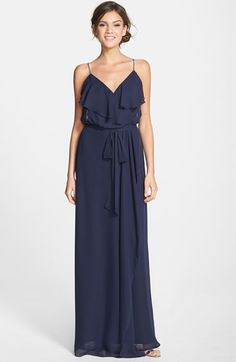 Free shipping and returns on nouvelle AMSALE Ruffle Front Chiffon Gown at Nordstrom.com. Soft and romantic, this blush-hued gown in silky chiffon flows gently from the spaghetti straps to a floor-grazing hem. The ruffled-overlay surplice bodice and wrap-style skirt flatter the figure, while a coordinating tie belt defines feminine curves.