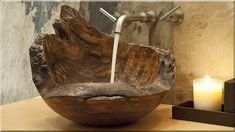 dan tilden wood turning wood sink living with good feelings from Wood Bathroom Sinks Wooden Bathroom, Small Bathroom, Bathroom Sinks, Bathrooms, Wood Sink, Wood Images, Bathroom Layout, Wood Accents, Colorful Furniture