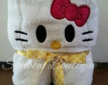 Hello Kitty Inspired Hooded Towel... Baby through child sized!