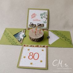Explosionsbox zum 80. Geburtstag mit Geldfach und Glückwunschkarte #CarosBastelbude carosbastelbude.wordpress.com