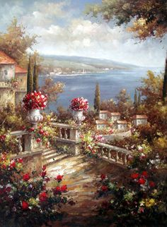 Italian Terrace on the Lake - Original Oil Painting Artist: Unknown  Size: 48 High x 36 Wide Canvas  Hand-painted, original oil painting on unstretched canvas.