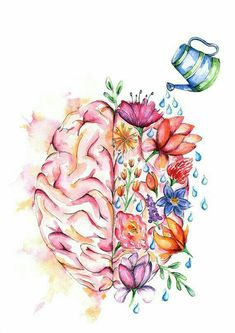 Self Care Tips for a Happier Life Your Mental Health Matters.Your Mental Health Matters. Right Brain Left Brain Watercolor Print Brain Art Poster Inspiration Art, Art Inspo, Motivation Inspiration, Brain Tattoo, Mental Health Art, Mental Health Tattoos, Mental Health Awareness Month, Brain Health, Brain Art