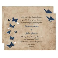 vintage butterfly wedding  Invitations Butterfly Wedding Theme, Butterfly Wedding Invitations, Shabby Chic Wedding Invitations, Butterfly Birthday Party, Butterfly Baby Shower, Wedding Invitation Wording, Custom Invitations, Baby Shower Invitations, Butterfly Kisses