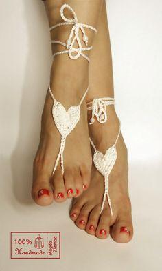 Ivory HEART Crochet BEARFOOT Sandals steampunk by kolus79 on Etsy