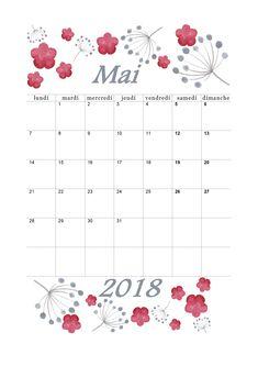 Calendrier Mai 2018 design aquarelle à imprimer en mode portrait