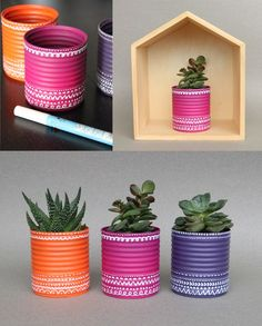 Inspiration Crafting & DIY Konservendosen als Blumentopf How To Choose Fine Linens For Your Home Art Tin Can Crafts, Diy And Crafts, Arts And Crafts, Decor Crafts, Recycle Cans, Reuse, Creation Deco, Painted Pots, Painted Tin Cans