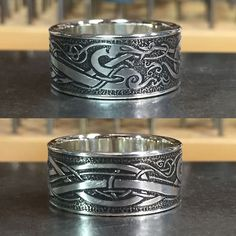 Viking style dragon, hand etched, sterling silver, original design. By Argentum Arcana. Very unique.