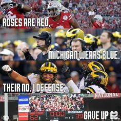 Football and Michigan don't mix. Trash football teams in that bum state - iFunny :) Buckeyes Football, College Football Teams, Ohio State Football, Ohio State Buckeyes, Ohio State Vs Michigan, Ohio State Baby, Ohio State University, Osu Schedule, Blood