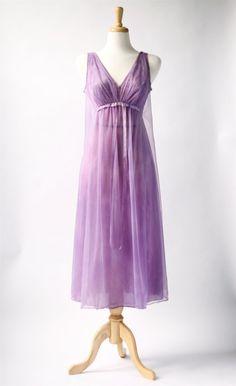 NEW! 1960's vintage purple sheer lace nightie