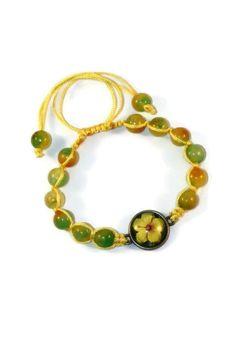Agate Floral Boho Bracelet Bracelet by MaKatarinaCorner #bohobracelet , #bohojewelry , #shamballabracelet, #rainbowbracelet , #floralbracelet , #agatebracelet , #macramebracelet, #wrapbracelet, #hibiscusbracelet