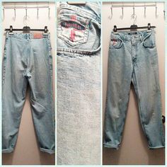 """#90s #highwaisted #lightdenim jeans by #bluenotes have a 12"""" rise, 28"""" waist, up to 19"""" across hips and 30"""" inseam.  #momjeans"""