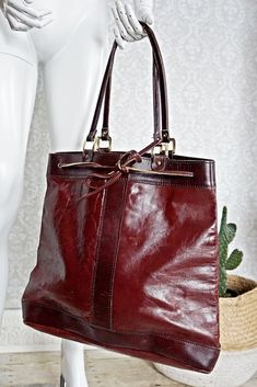 Vintage 1970s Leather + Oversized Tote Bag - closiTherapi