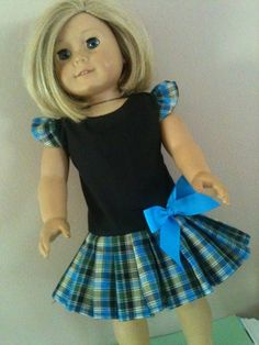 Back with blue plaid dress/ Doll Clothes fits American Girl Doll
