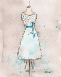 CLEARANCE - Original - Watercolor and Charcoal Painting - White and Teal Dress - 8x10