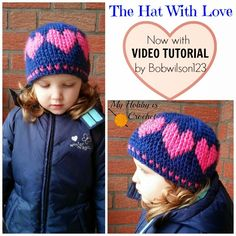 Now with Video Tutorial included!  A Hat With Love | Free Crochet Pattern | Written Instruction, Graph & Video Tutorial